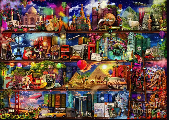 World Map Greeting Card featuring the digital art World Travel Book Shelf by Aimee Stewart