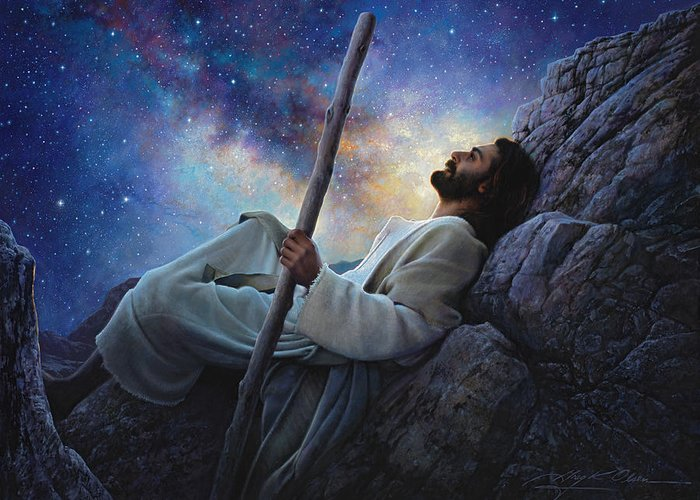 Jesus Greeting Card featuring the painting Worlds Without End by Greg Olsen