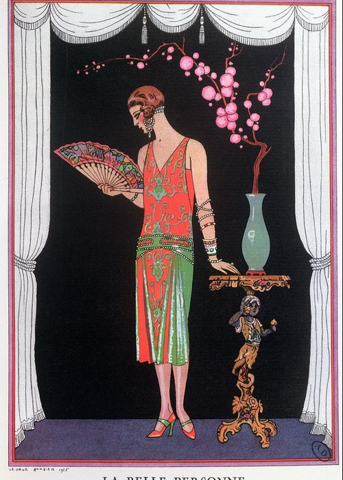 Gravure De Mode Greeting Card featuring the painting Worth Evening Dress Fashion Plate From Gazette Du Bon Ton by Georges Barbier