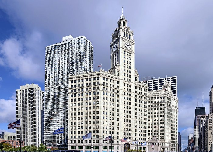 Chicago Greeting Card featuring the photograph Wrigley Building Chicago by Christine Till