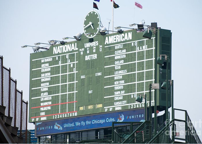 Chicago Greeting Card featuring the photograph Wrigley Field Scoreboard Sign by Paul Velgos