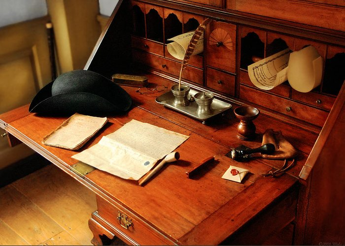 Savad Greeting Card featuring the photograph Writer - The Desk Of A Gentleman by Mike Savad