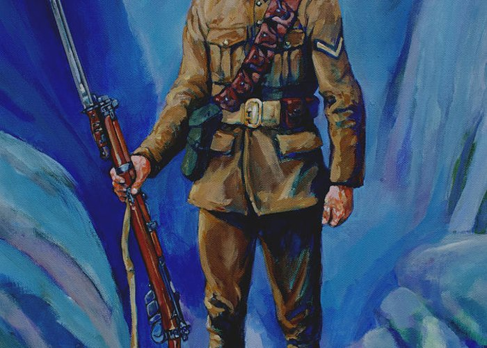 Soldier Greeting Card featuring the painting Ww 1 Soldier by Derrick Higgins