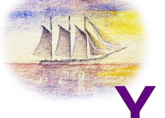 Alphabet Greeting Card featuring the painting Y Art Alphabet For Kids Room by Irina Sztukowski