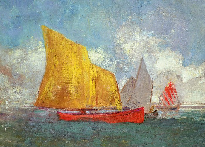 Yachts In A Bay Greeting Card featuring the painting Yachts In A Bay by Odilon Redon
