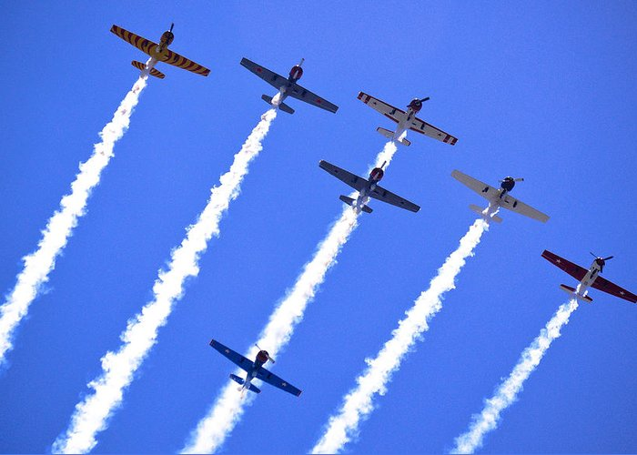 Flight Formation Greeting Card featuring the photograph Yak 52 Formation by Phil 'motography' Clark
