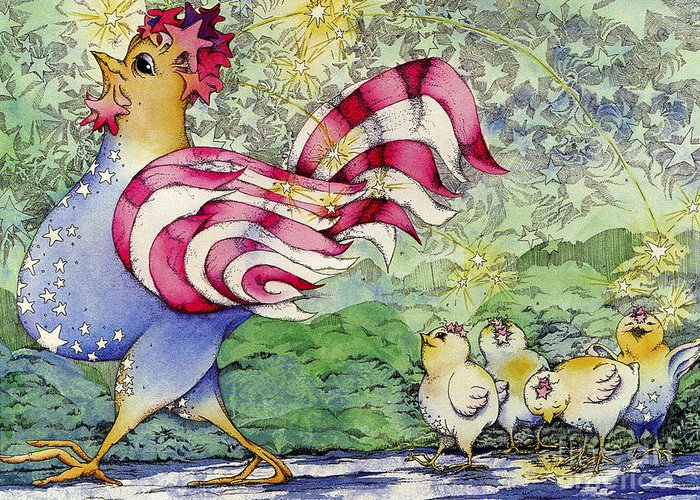 Chickens Greeting Card featuring the painting Yankee-doodle-doo by Linda Shelton