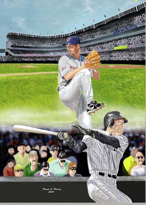 Baseball Greeting Card featuring the digital art Yankees Vs Indians by Thomas J Herring