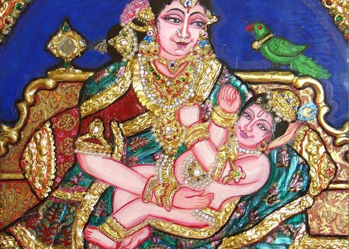Tanjore Greeting Card featuring the painting Yashoda Holding Gopala by Jayashree