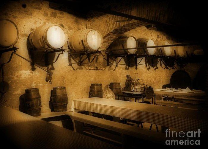 Ye Old Wine Cellar In Tuscany Greeting Card featuring the photograph Ye Old Wine Cellar In Tuscany by John Malone