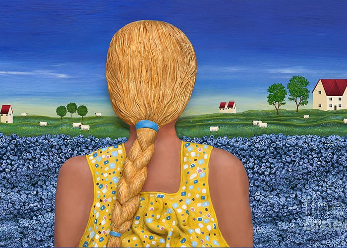 Ponytail Blond Girl Greeting Card featuring the sculpture Yearning by Anne Klar