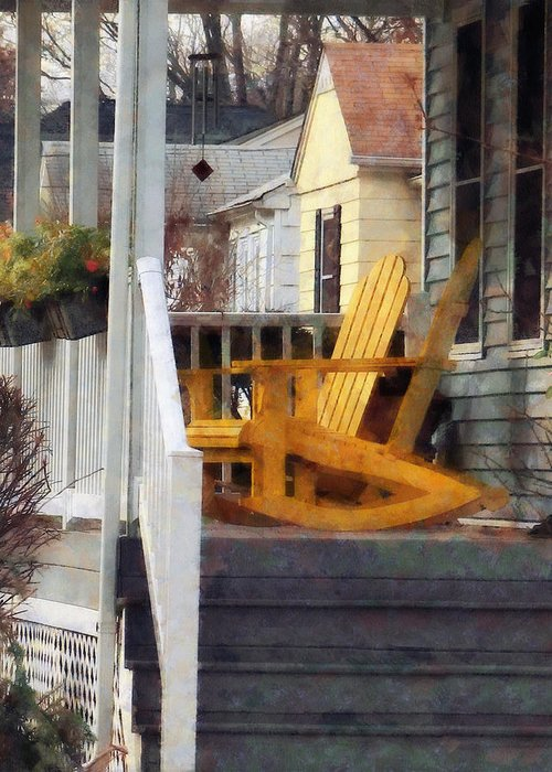 Chair Greeting Card featuring the photograph Yellow Adirondack Rocking Chairs by Susan Savad
