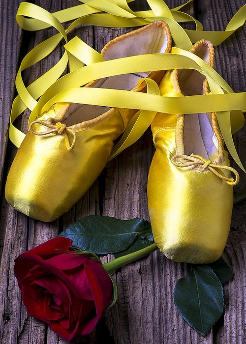 Ballet Shoes Shoe Greeting Card featuring the photograph Yellow Ballet Shoes by Garry Gay