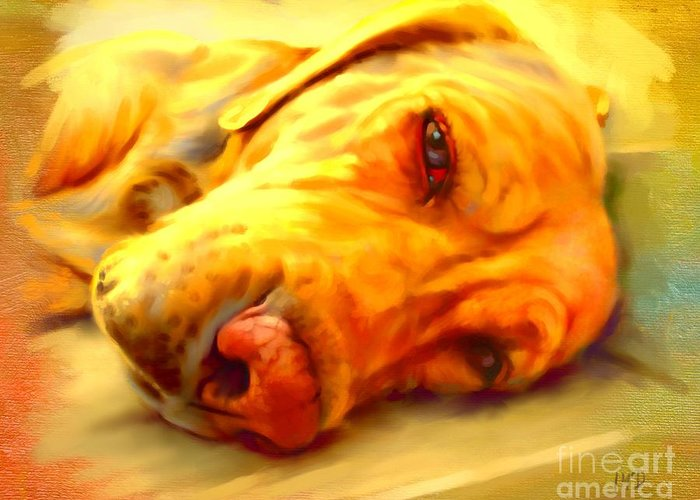 Dog Paintings Greeting Card featuring the painting Yellow Labrador Portrait by Iain McDonald