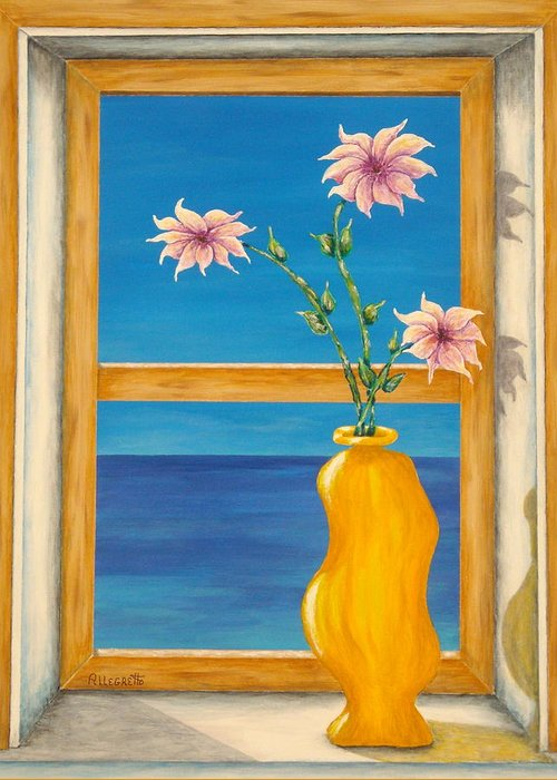 Pamela Allegretto Greeting Card featuring the painting Yellow Vase With Sea View by Pamela Allegretto