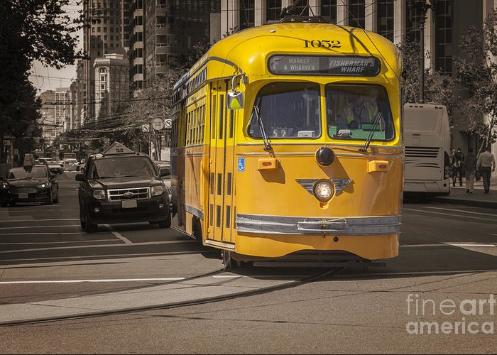 San Francisco Greeting Card featuring the photograph Yellow Vintage Streetcar San Francisco by Colin and Linda McKie