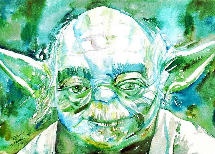 Yoda Greeting Card featuring the painting Yoda Watercolor Portrait by Fabrizio Cassetta