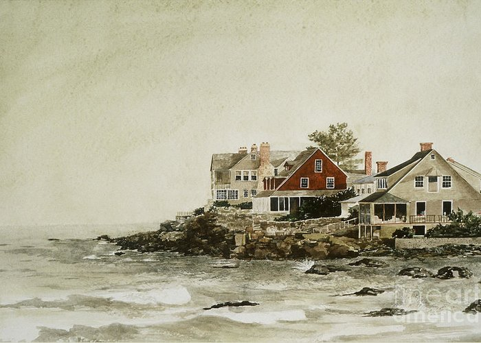 The Wind At York Beach Greeting Card featuring the painting York Beach by Monte Toon