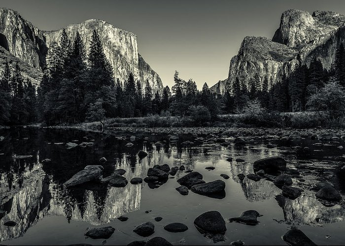 Ansel Adams Greeting Card featuring the photograph Yosemite National Park Valley View Reflection by Scott McGuire