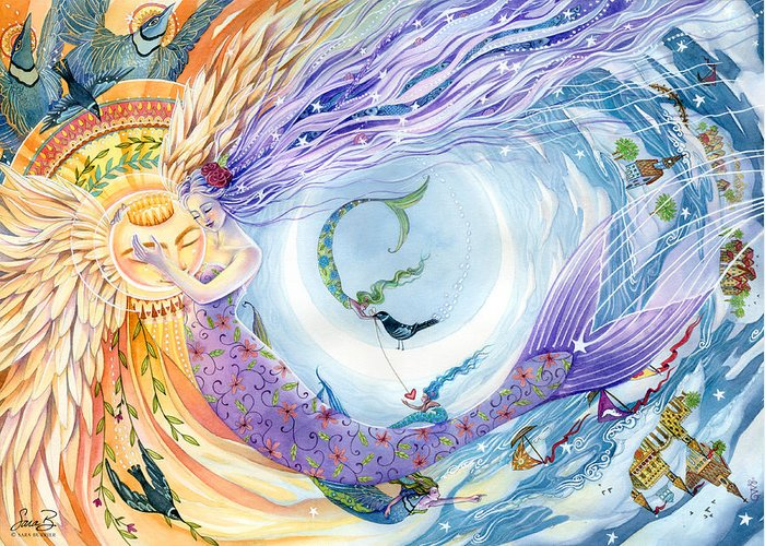 Mermaids Greeting Card featuring the painting You Are The Sun I Am The Moon by Sara Burrier