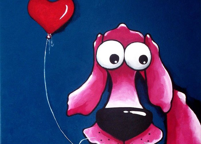 The Pink Dog Greeting Card featuring the painting You Have My Heart by Lucia Stewart