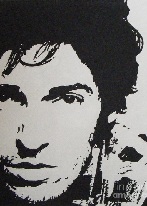 Bruce Springsteen Greeting Card featuring the painting Young Boss by ID Goodall