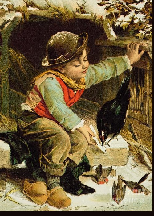 Bird; Victorian Postcard; Male; Child; Clogs; Hat; Robin; Feeding; Winter Greeting Card featuring the painting Young Boy With Birds In The Snow by English School