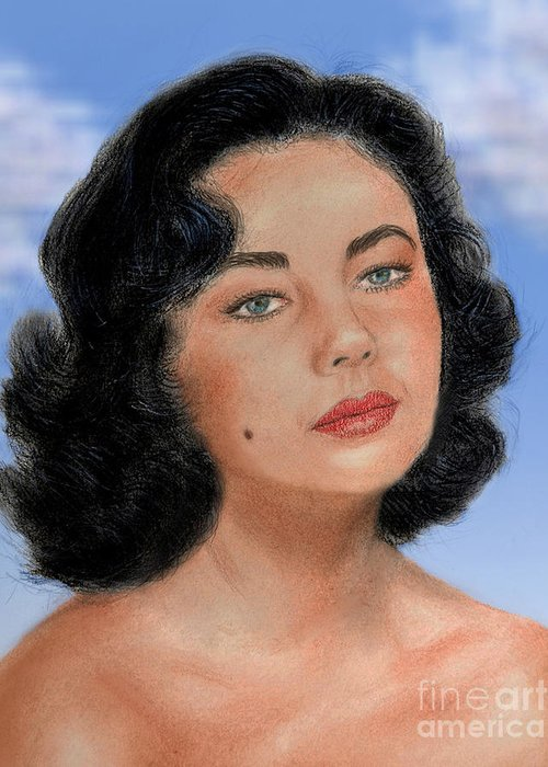 Liz Taylor Greeting Card featuring the drawing Young Liz Taylor Portrait Remake Version II by Jim Fitzpatrick