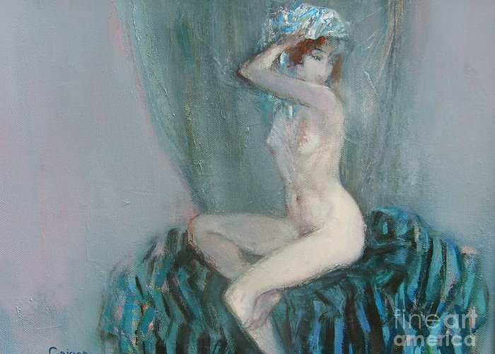 Nude Greeting Card featuring the painting Young Model by Grigor Malinov