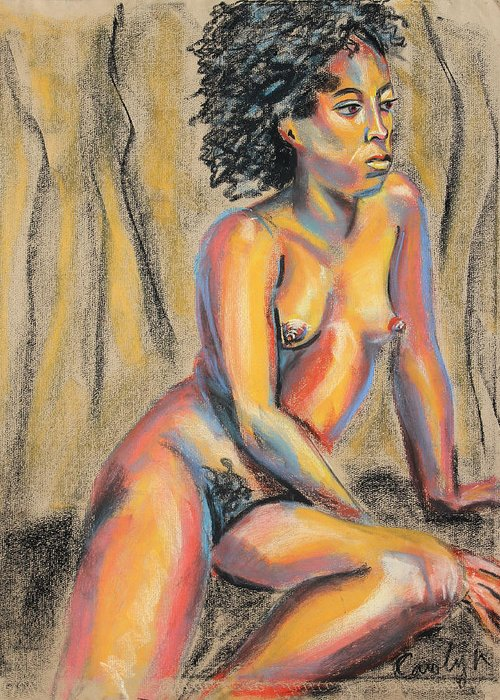 Nude Pastel Painting Greeting Card featuring the pastel Young Woman Resting And Contemplating by Asha Carolyn Young