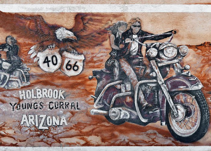 Youngs Greeting Card featuring the photograph Young's Corral In Holbrook Az On Route 66 - The Mother Road by Christine Till