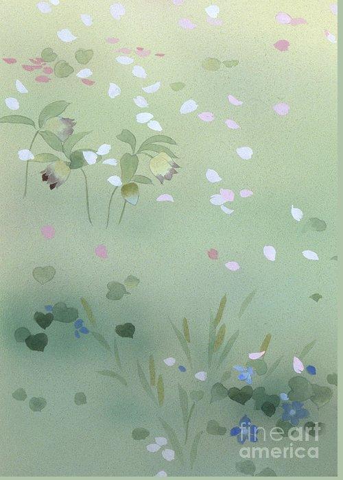 Haruyo Morita Greeting Card featuring the digital art Yumezakura Crop by Haruyo Morita