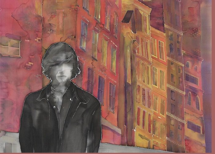 City Greeting Card featuring the tapestry - textile Z And The City 2 by Carolyn Doe