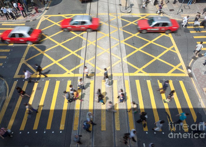 China Greeting Card featuring the photograph Zebra Crossing - Hong Kong by Matteo Colombo