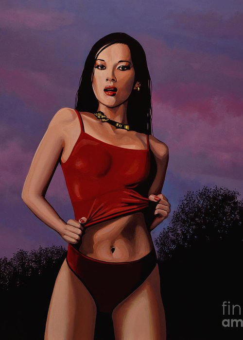 Zhang Ziyi Greeting Card featuring the painting Zhang Ziyi by Paul Meijering