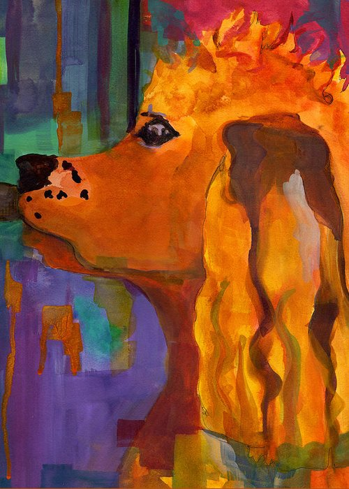 Dog Greeting Card featuring the painting Zippy Dog Art by Blenda Studio