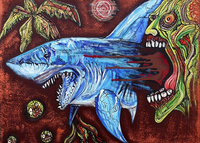 Florida Greeting Card featuring the painting Zombie Eats Shark by Laura Barbosa