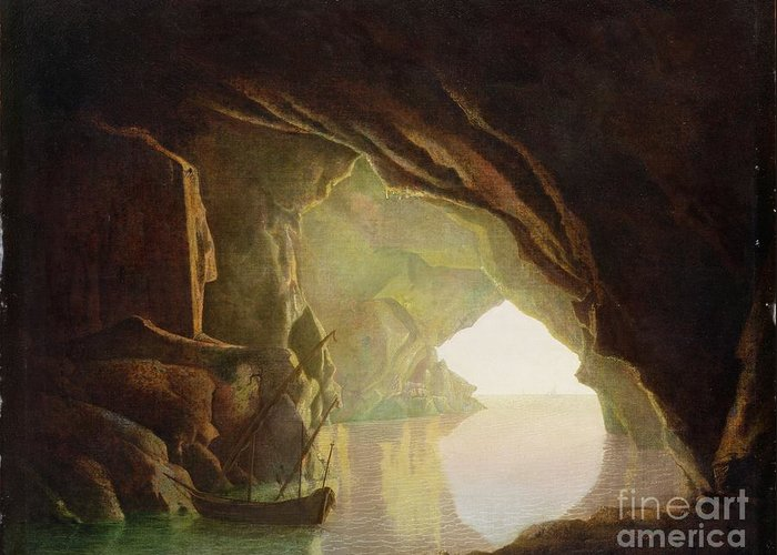 Grotto Greeting Card featuring the painting A Grotto In The Gulf Of Salerno - Sunset by Joseph Wright of Derby