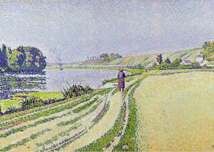 Herblay Greeting Card featuring the painting Herblay La River by Paul Signac