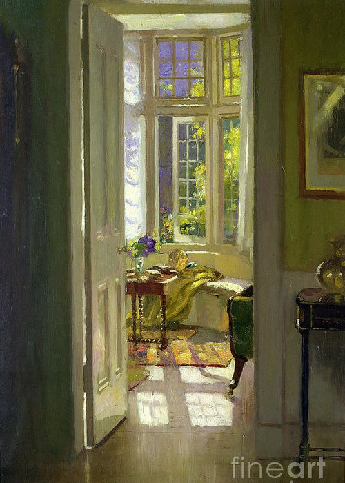 Window; Door; Sunlight; Shadow Greeting Card featuring the painting Interior Morning by Patrick Williams Adam