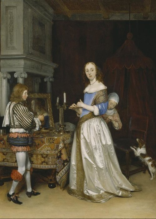 Lady Greeting Card featuring the painting Lady At Her Toilette by Gerard ter Borch