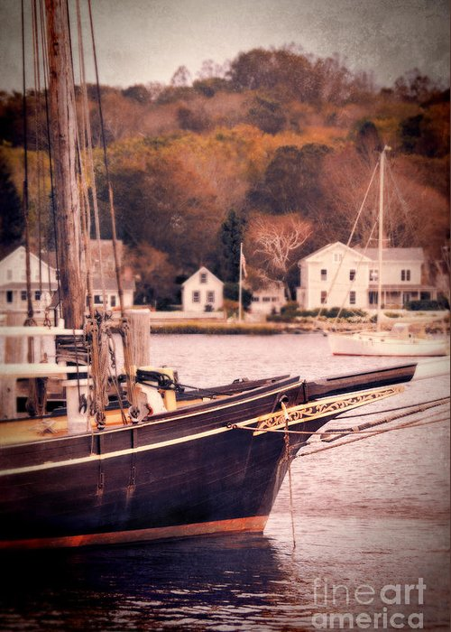 Coast Greeting Card featuring the photograph Old Ship Docked On The River by Jill Battaglia