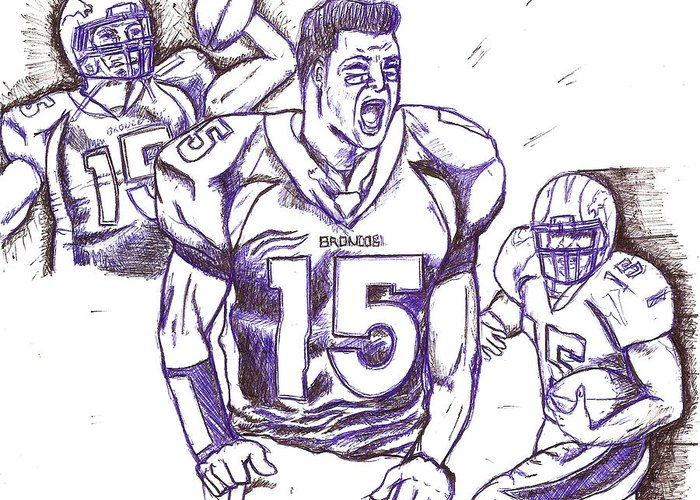 Sports Greeting Card featuring the drawing Tebow Time Let's Go by HPrince De Artist