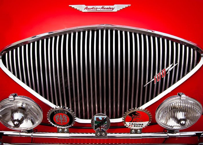 55 Greeting Card featuring the photograph 1955 Austin Healey 100-4 by David Patterson