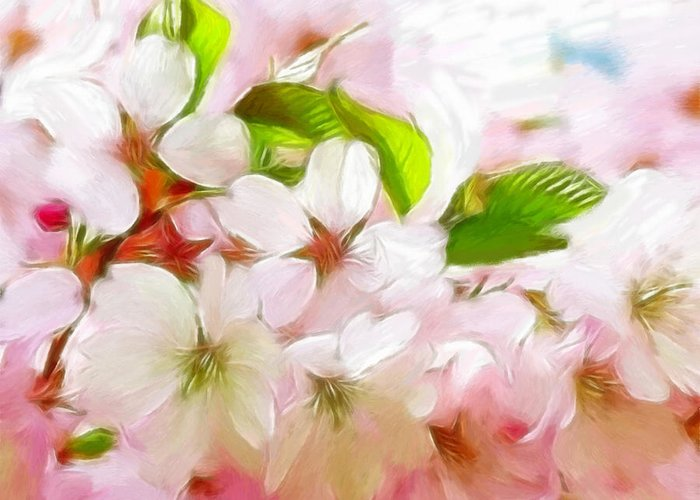 Japanese Greeting Card featuring the pastel A Day In Spring by Steve K
