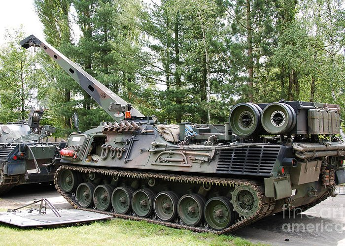 Artillery Greeting Card featuring the photograph A Leopard 1a5 Mbt Of The Belgian Army by Luc De Jaeger