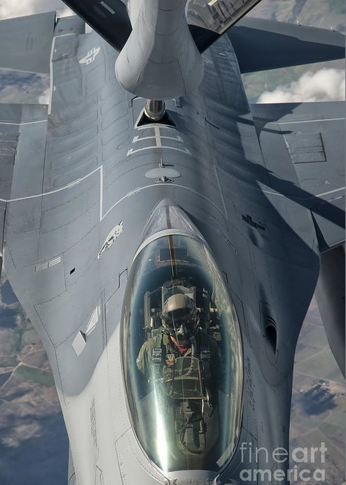 Transportation Greeting Card featuring the photograph A U.s. Air Force F-16c Fighting Falcon by Giovanni Colla
