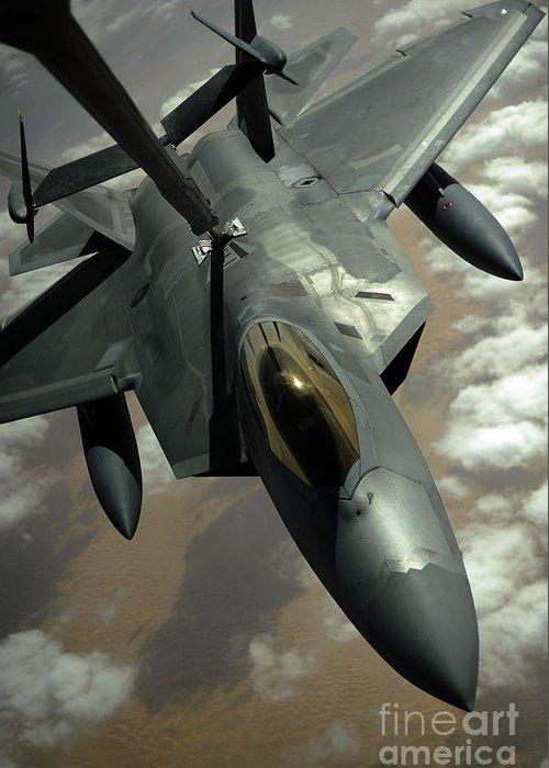 Warplane Greeting Card featuring the photograph A U.s. Air Force F-22 Raptor by Stocktrek Images