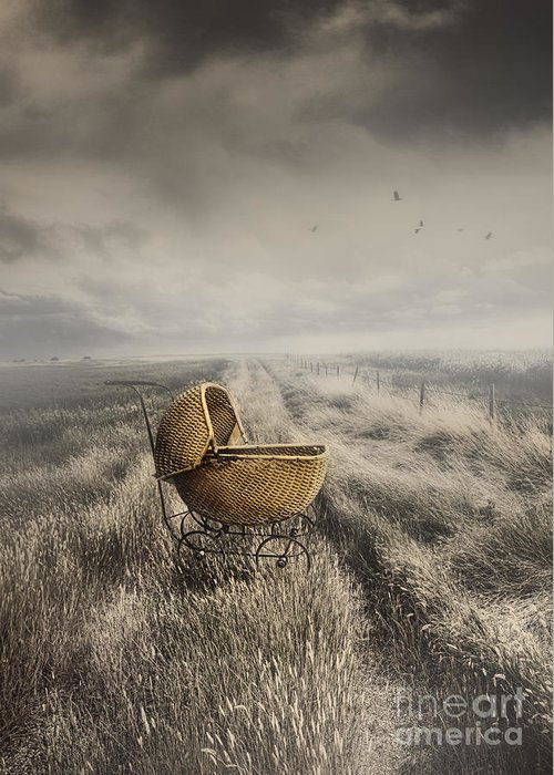 Abandoned Greeting Card featuring the photograph Abandoned Antique Baby Carriage In Field by Sandra Cunningham