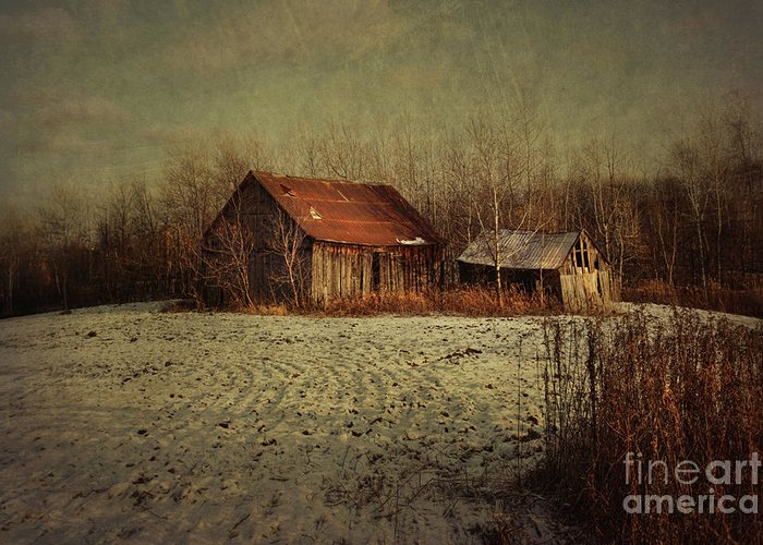Abandon Greeting Card featuring the photograph Abandoned Barn After The First Snow by Sandra Cunningham